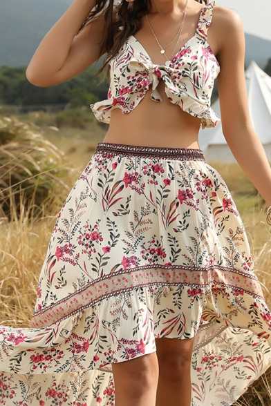 Chic Beach Sleeveless Bow Tie Stringy Selvedge All Over Floral Fit Crop Tank Top & High Low Hem Long Flowy Skirt Co-Ords