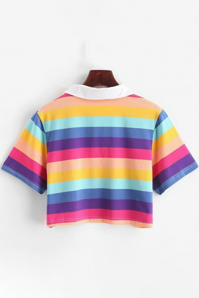 Chic Girls Short Sleeve Point Collar Button Up Colorful Striped Print Fit Crop Polo Shirt