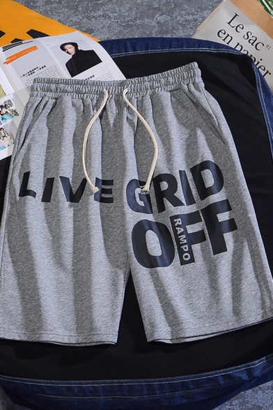 Fashionable Mens Drawstring Waist Letter LIVE GRID OFF Print Straight Shorts