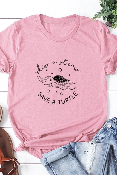Girls New Trendy Rolled Short Sleeve Round Neck Turtle Print Letter SAVE A TURTLE Graphic Regular Fit Tee Top
