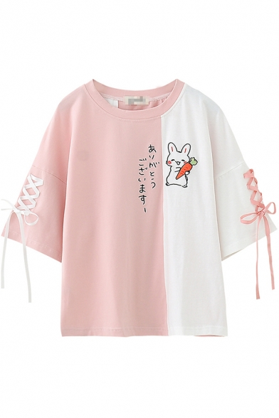 Kawaii Womens Three-Quarter Sleeve Round Neck Lace Up Japanese Letter Rabbit Graphic Color Block Loose Fit T Shirt