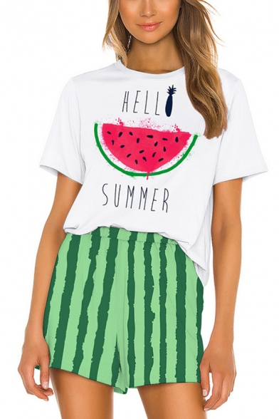 Popular Womens Short Sleeve Crew Neck Watermelon Graphic Loose Tee & Stripe Print Shorts Pajamas Co-Ords in White, LC614419