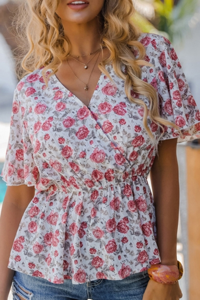 Pretty Girls White Bell Sleeve Surplice Neck All Over Floral Printed Gathered Waist Loose Blouse