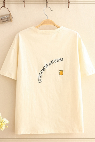 Simple Casual Short Sleeve Round Neck UTRCCMSTANCSE Cartoon Embroidered Relaxed Fit T Shirt in Khaki