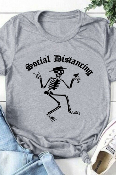 Basic Summer Girls Roll Up Sleeve Crew Neck Letter SOCIAL DISTANCING Skull Graphic Relaxed Fit T Shirt