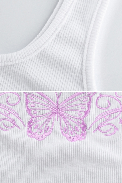Edgy Girls Sleeveless Scoop Neck Butterfly Embroidery Fitted Crop Tank Top in White