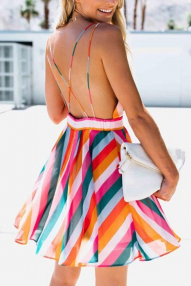 Fancy Sexy Ladies Sleeveless Deep V-Neck Colorful Stripe Printed Mini Pleated A-Line Cami Dress in Orange