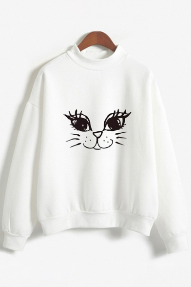 Fashionable Womens Long Sleeve Crew Neck Funny Cat Printed Relaxed Fit Pullover Sweatshirt, Pink;white, LC614895