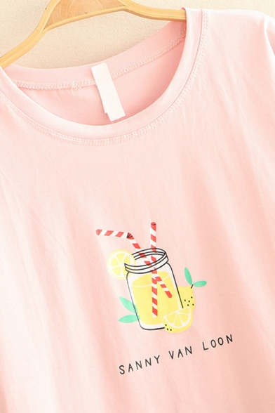 Fashionable Womens Short Sleeve Round Neck Letter SUNNY VAN LOON Juice Graphic Loose T Shirt