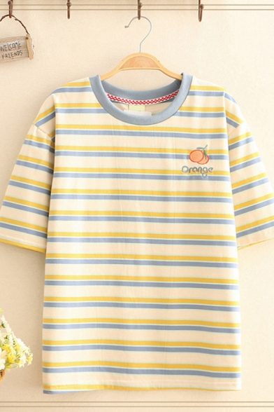Girls Short Sleeve Round Neck Letter PEACH Peach Embroidered Striped Print Loose T Shirt