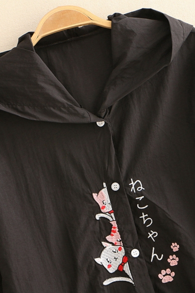 Girls Preppy Looks Three-Quarter Sleeve Hooded Button Up Japanese Letter Cat Embroidery Contrasted Relaxed Jacket