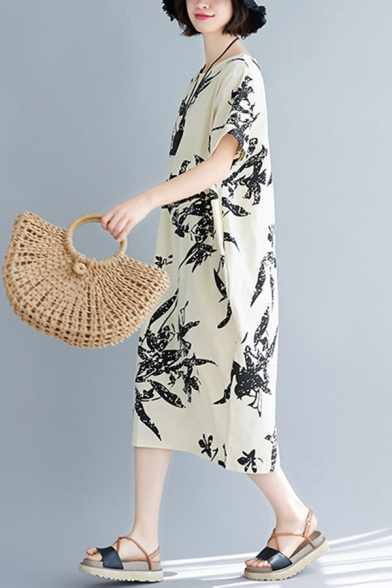 Girls Retro Short Sleeve Round Neck All Over Leaf Printed Linen and Cotton Midi Oversize Dress in Beige
