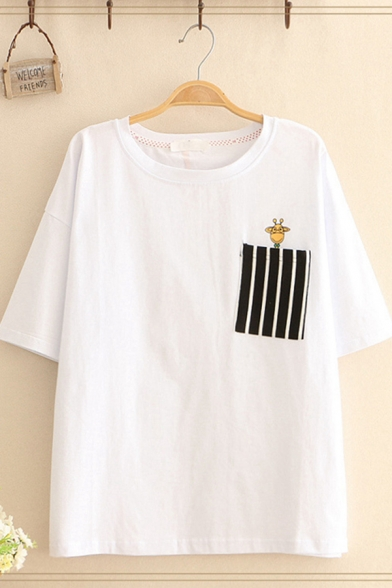 Kpop Short Sleeve Round Neck Giraffe Stripe Print Chest Pocket Loose Fitted Tee Top for Girls