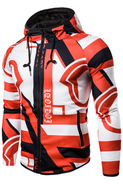 New Stylish Boys Long Sleeve Drawstring Zipper Front All Over Geo Print Colorblock Slim Fit Hoodie