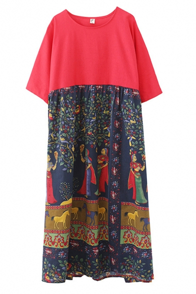 Popular Womens Red Short Sleeve Round Neck Floral Cartoon Figure Horse Printed Panel Linen Maxi Oversize Dress