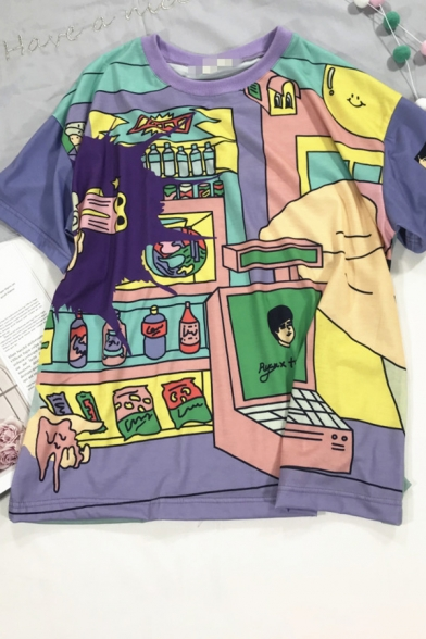 Purple Cute Fashion Short Sleeve Crew Neck Mixed Cartoon Printed Relaxed Fit T Shirt for Girls