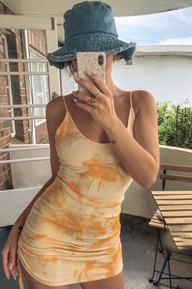 Sexy Light Orange Scoop Neck Tie-Dye with Ruched Side Mini Bodycon Cami Dress for Party
