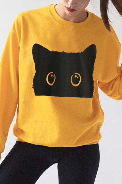 Simple Womens Long Sleeve Crew Neck Black Cat Printed Loose Fit Pullover Sweatshirt, Pink;white;gray;yellow, LC614859