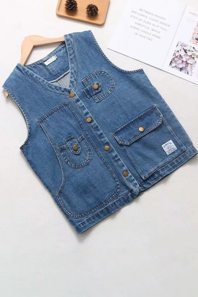 Cool Womens Blue Sleeveless V-Neck Button Down Flap Pockets Utility Relaxed Fit Denim Waistcoat