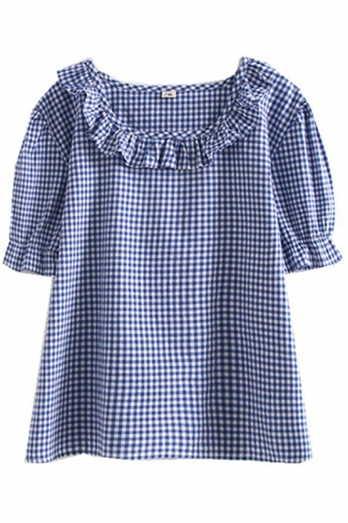 Girls Lovely Blouson Sleeve Stringy Selvedge Round Neck Checkered Printed Loose Fit Blouse Top