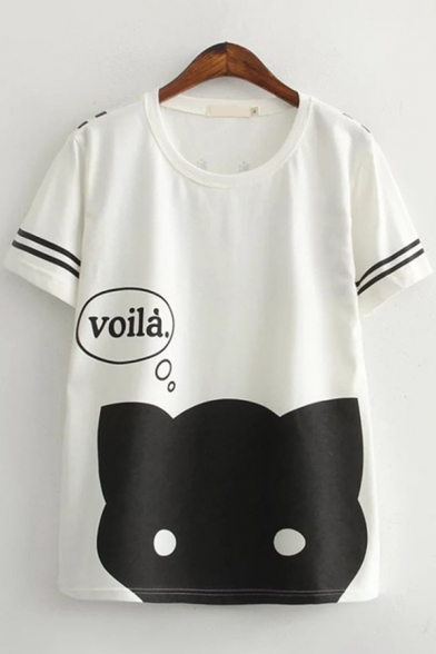 Letter Voila Cat Graphic Varsity Striped Short Sleeve Crew Neck Loose Fit Cute T Shirt for Women