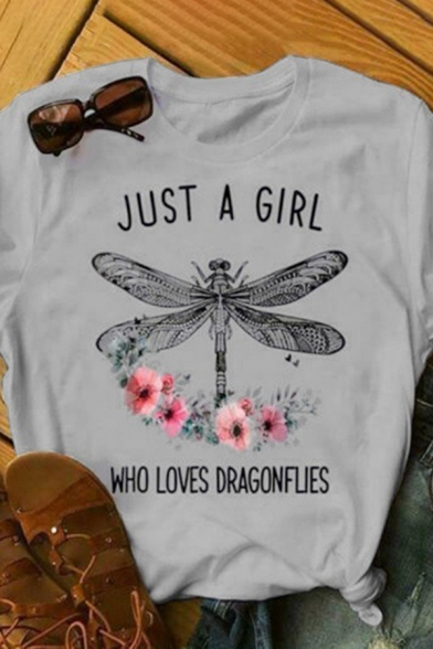Popular Girls Roll Short Sleeve Crew Neck Letter JUST A GIRL Dragonfly Graphic Slim Fit T-Shirt