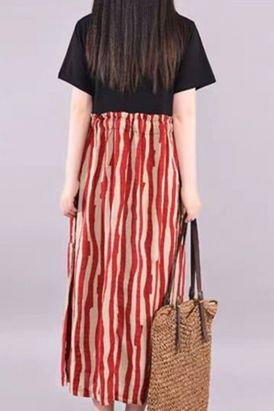 Retro Womens Short Sleeve Round Neck Stripe Patterned Pockets Side Patchwork Bow Tie Stringy Selvedge Waist Linen Long Pleated Swing Dress