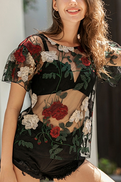 Sexy Ladies Bell Sleeve Round Neck All Over Floral Embroidered See-Through Mesh Relaxed Fit Tee Top