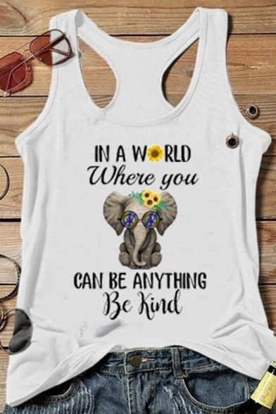 Streetwear Girls Sleeveless Scoop Neck Racer Back Letter IN A WORLD WHERE YOU CAN BE ANYTHING Elephant Print Loose Graphic Tank