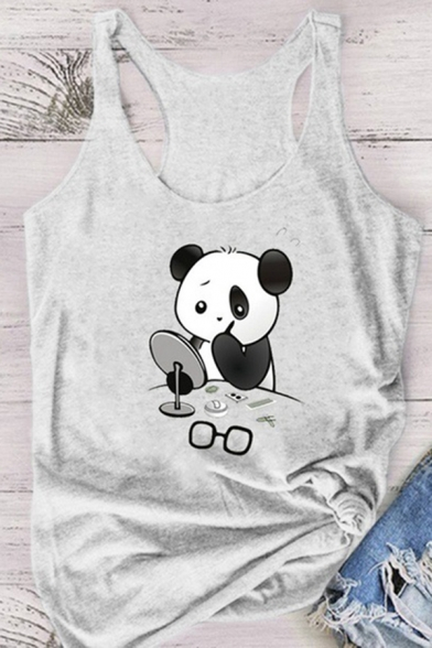 Chic Summer Girls Sleeveless Scoop Neck Funny Panda Pattern Racer Back Relaxed Fit Tank Top