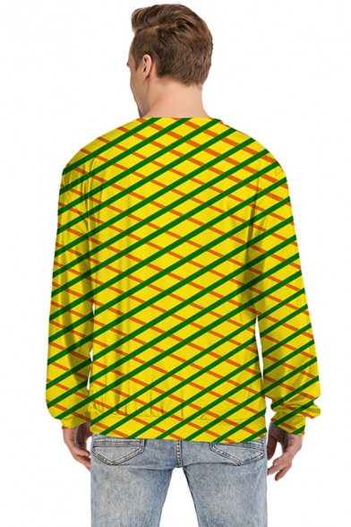 Designer Boys Long Sleeve Crew Neck Anime Game Cosplay 3D Grid Printed Relaxed Fit Pullover Sweatshirt in Yellow