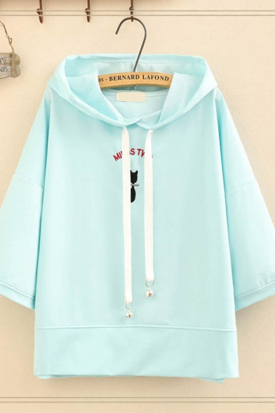 Fashion Pretty Girls Three-Quarter Sleeve Hooded Drawstring Cat Letter Graphic Loose Fit Tee Top