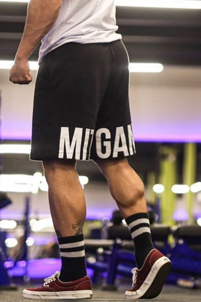 Guys Gym Classic and Popular Fitness Letter Printed Elastic Waist Cotton Casual Sweat Shorts