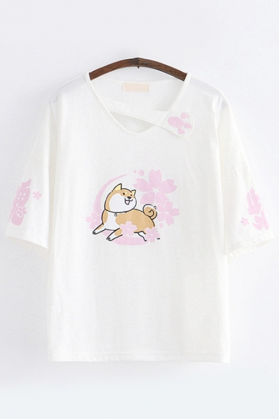 Lovely Dog Floral Pattern Half Sleeves Paw Patched Cut out V-Neck Loose Fit T Shirt for Women