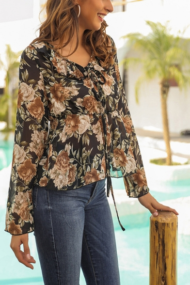 Pretty Ladies Black Long Sleeve V-Neck Bow Tied Front All Over Floral Print Ruffled Trim Chiffon Relaxed Blouse Top