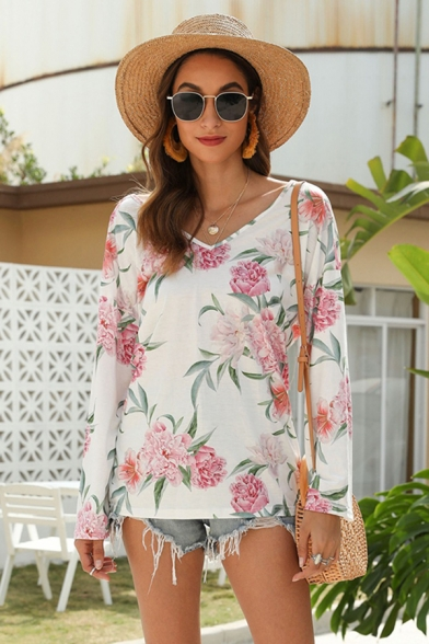 Casual Womens Long Sleeve V-Neck All Over Flower Printed Twist Open Back Regular Fitted T-Shirt