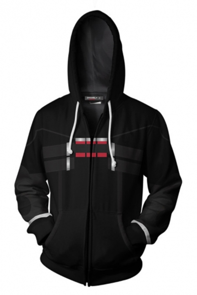 Cool Boys Long Sleeve Drawstring Zipper Front Anime Geo 3D Print Relaxed Fit Hoodie in Black
