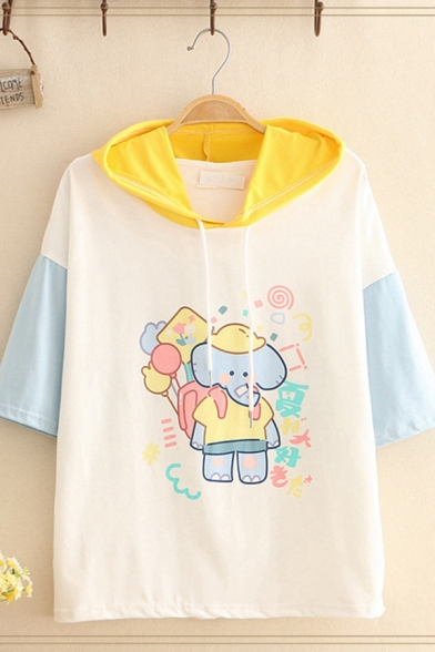 Girls Fancy Lovely Short Sleeve Drawstrng Hooded Cartoon Elephant Pattern Colorblock Loose Fit T Shirt in White