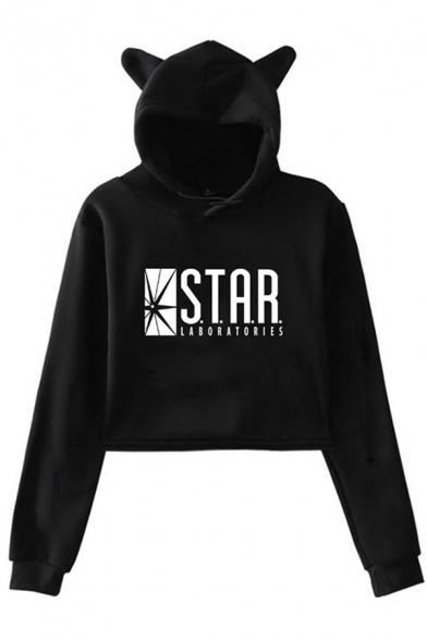 Leisure Womens Long Sleeve Letter STAR Graphic Relaxed Crop Ears Hoodie, Black;pink;white;gray, LC614877