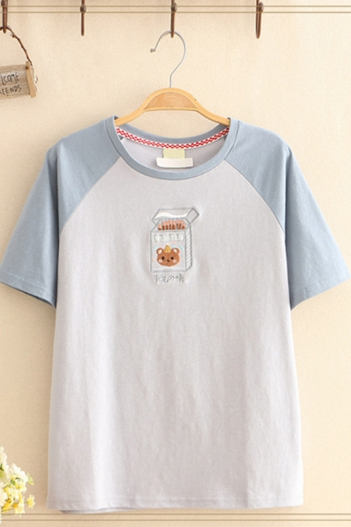 New Trendy Womens Raglan Short Sleeve Round Neck Bear Matchbox Embroidered Colorblock Relaxed T Shirt