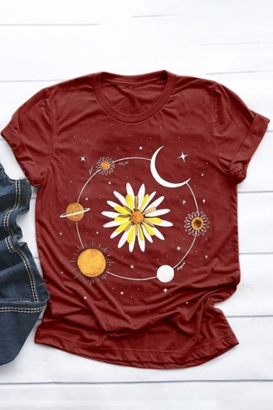 Popular Girls Rolled Short Sleeve Crew Neck Moon Floral Planet Pattern Slim Fitted T Shirt