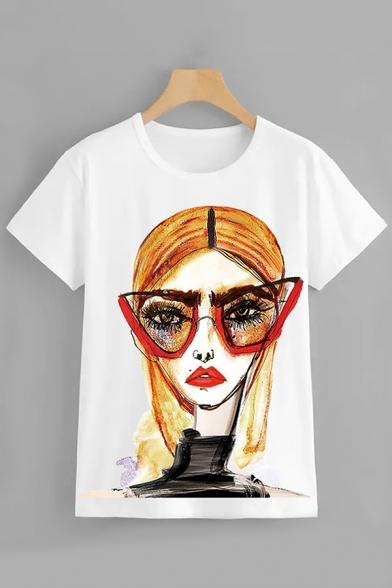 Streetwear Ladies Short Sleeve Round Neck Cartoon Girl Pattern Regular Fit T Shirt