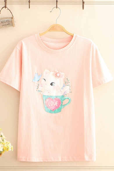Stylish Ladies Short Sleeve Crew Neck Cat Cup Pattern Pearl Embellished Loose Fit T-Shirt