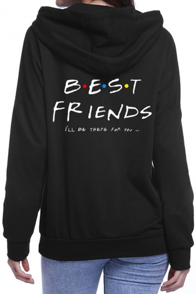 Womens Stylish Black Long Sleeve Letter BEST FRIENDS Print Loose Fit Hoodie, LC615499