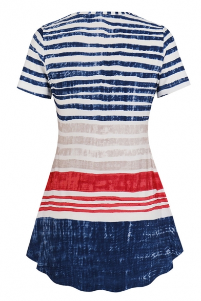 Blue Trendy Stripe Printed Short Sleeve Round Neck Pleated Regular Fit T-Shirt for Women