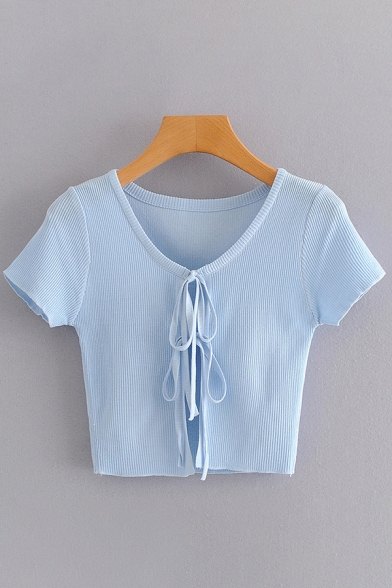 Chic Blue Short Sleeve Round Neck Bow Tie Front Knitted Cropped Top for Girls