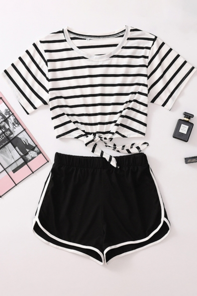 Chic Girls White Short Sleeve Round Neck Striped Tied Hem Fitted Crop Tee & Contrast Piped Shorts Set, LC615494