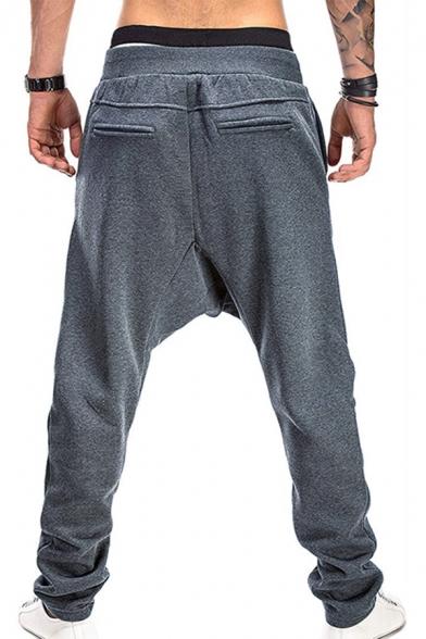 Cool Hip Hop Boys Drawstring Waist Drop Insteam Contrast Piped Long Length Baggy Sweatpants