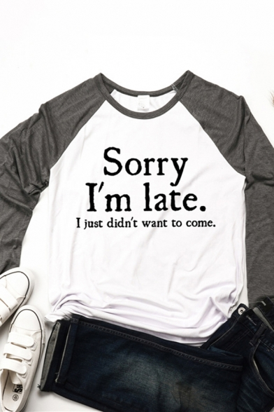Fashionable Womens Long Sleeve Crew Neck Letter SORRY I'M LATE Print Colorblock Relaxed Fit T Shirt