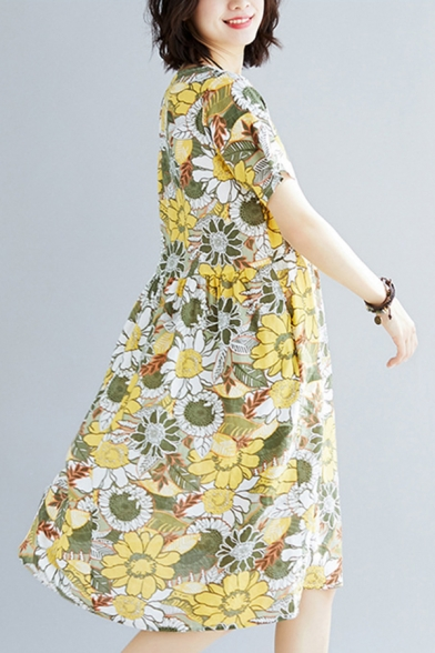 Fashionable Womens Short Sleeve Round Neck All Over Floral Printed Linen Midi Pleated Swing Dress